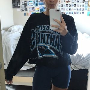 Sweaters - CROPPED VINTAGE CAROLINA PANTHERS SWEATSHIRT